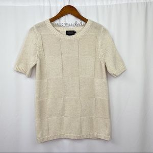 vintage PENDLETON short sleeve cream knit sweater